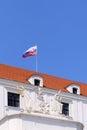 Detail Bratislavského hradu a slovenská vlajky