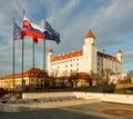 Bratislava castle with flags