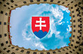 Bratislava castle inside of with emblem of slovak republic Royalty Free Stock Photography