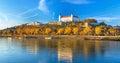 Bratislava castle,parliament and Danube river,Slovakia