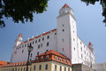 Bratislava castle white high above the city of slovakia Stock Photography