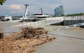 Bratislava danube at high flood by highest measured water and snp bridge on june in slovakia Stock Photography