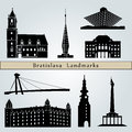 Bratislava landmarks and monuments isolated on blue background in editable vector file Royalty Free Stock Photography