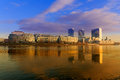 Bratislava modern skyscapers, near Danube river, gold reflection Royalty Free Stock Photo
