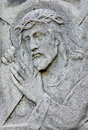 Bratislava relief of jesus christ with the cross from cent on the tomb in cemetery na kozej brane august slovakia Stock Photo