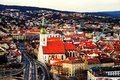 Aerial view of historical buildings in Bratislava, Slovak Republic
