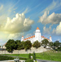 Bratislava slovakia city castle surrounded by walls and vegeta vegetation Stock Photos