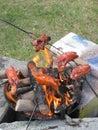 Bratwurst preparing on the fire Royalty Free Stock Photo