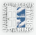 Brave Courage Daring Word Door Open to Success Royalty Free Stock Photo