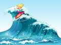 A brave female surfer illustration of Stock Photo