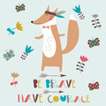 Brave fox vector illustration of cute indian with feathers and arrows in cartoon style be have courage poster Royalty Free Stock Image