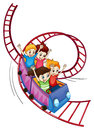 Brave kids riding in a roller coaster ride illustration of on white background Stock Image