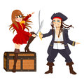Brave pirates fighting over treasure two one male and one female with swords chest Royalty Free Stock Photo