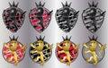 Brave roaring lion emblem shield set of Royalty Free Stock Photos