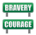 Bravery & Courage road sign Royalty Free Stock Photo