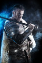 Bravery portrait of a courageous ancient warrior in armor with sword and shield Stock Images