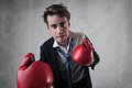 Bravery young businessman with boxing gloves Stock Photos