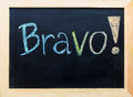 Bravo word on black board Stock Image