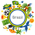 Brazil background with stylized objects and cultural symbols Royalty Free Stock Photos