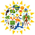 Brazil background with stylized objects and cultural symbols Stock Photos