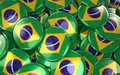 Brazil Badges Background - Pile of Brazilian Flag Buttons. Royalty Free Stock Photo