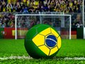 Brazil ball with goal post and crows waving Stock Image