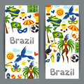 Brazil banners with stylized objects and cultural symbols Royalty Free Stock Photography