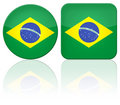 Brazil button flag Stock Images