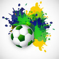 Brazil colors splash grunge soccer ball design Royalty Free Stock Photo