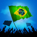Brazil fan crowd with flag brazilian huge cheer up flags Stock Images