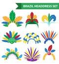 Brazil Feather Headband Headdress icons flat style. Headpiece Carnival, Samba Festival headwear. Isolated on white