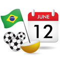 Brazil flag calendar of june on the to celebrate the beginning of a sport competition Royalty Free Stock Image