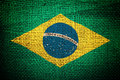 Brazil flag on coffee sack texture Royalty Free Stock Photography