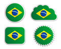 Brazil flag labels Royalty Free Stock Photo