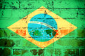 Brazil flag an old grunge of state on bricks Royalty Free Stock Photo