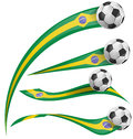 Brazil flag set with soccer ball on white background Royalty Free Stock Images