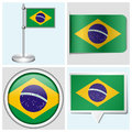Brazil flag set of sticker button label and fl various flagstaff Royalty Free Stock Images