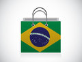 Brazil flag shopping bag illustration design over a white background Royalty Free Stock Image