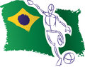 Brazil flag and soccer player hand drawn styled football with brazilian Royalty Free Stock Images