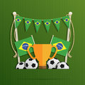 Brazil football decoration soccer with flag bunting and objects with space for text eps file with transparencies Royalty Free Stock Photos
