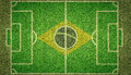 Brazil football soccer pitch an overhead view of a with white markings and the flag of painted on grass Stock Image