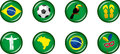 Brazil Glossy Icon Set Royalty Free Stock Photo