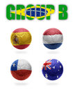 Brazil group b realistic football balls with national flags of spain netherlands chile australia Royalty Free Stock Photography