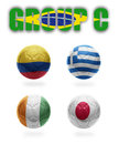 Brazil group c realistic football balls with national flags of colombia greece cote d ivoire japan Stock Photo