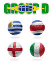 Brazil group d realistic football balls with national flags of uruguay costa rica england italy Stock Image