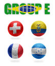 Brazil group e realistic football balls with national flags of switzerland ecuador france honduras Stock Photography