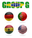 Brazil group g realistic football balls with national flags of germany portugal ghana usa Stock Photo