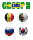 Brazil group h realistic football balls with national flags of belgium algeria russia south korea Royalty Free Stock Photo