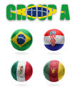 Brazil group a realistic football balls with national flags of croatia mexico cameroon Stock Photo