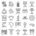 Brazil icons set, outline style Royalty Free Stock Photo